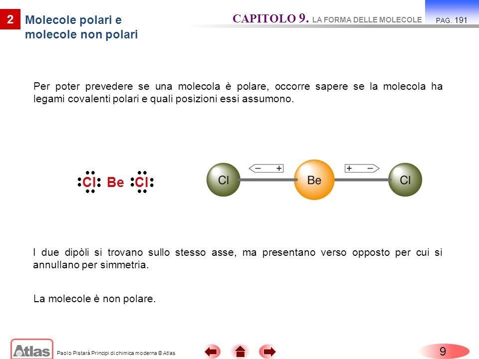 Paolo Pistarà Principi di chimica moderna © Atlas Per poter prevedere se una molecola è polare, occorre sapere se la molecola ha legami covalenti pola