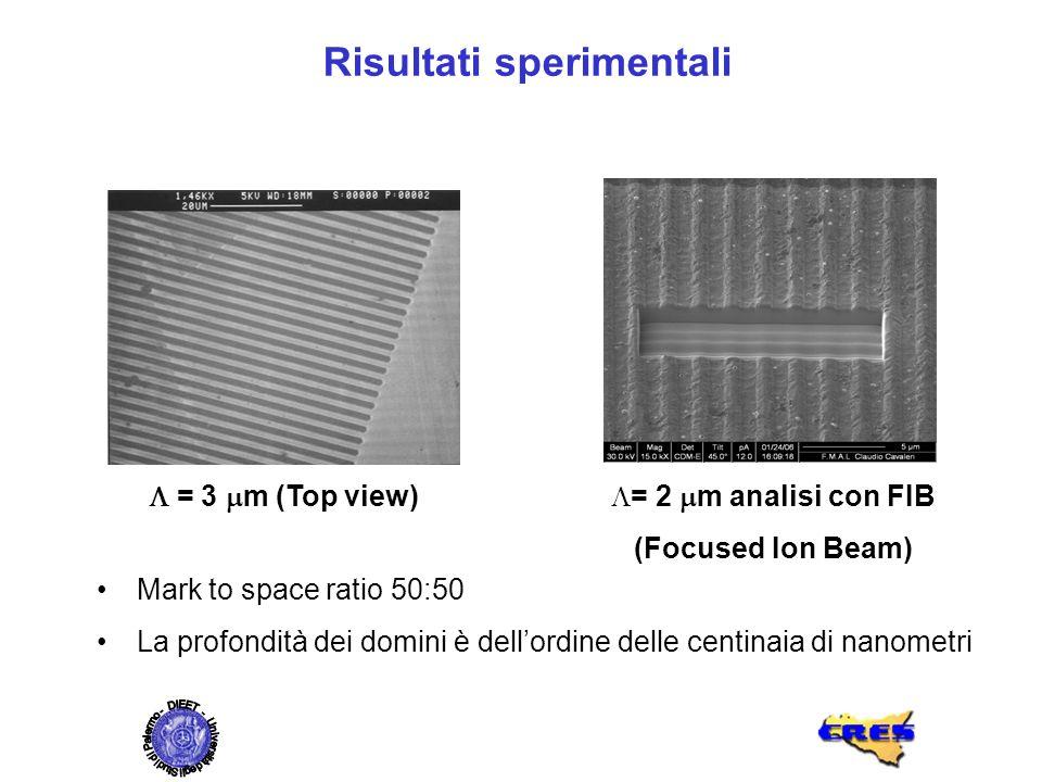Mark to space ratio 50:50 La profondità dei domini è dellordine delle centinaia di nanometri = 3 m (Top view) = 2 m analisi con FIB (Focused Ion Beam)