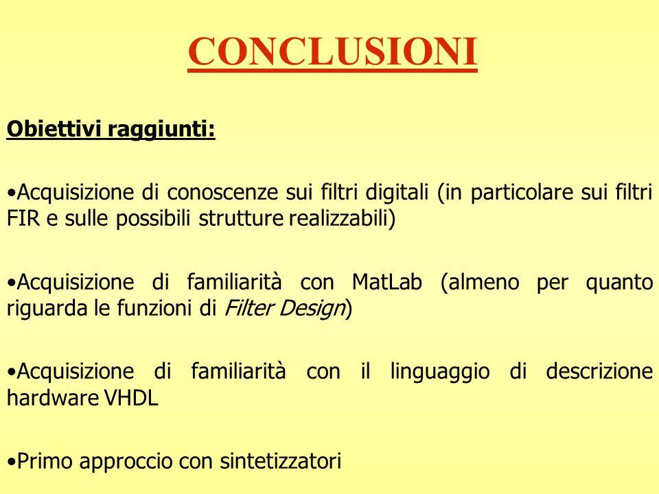 CONCLUSIONI Obiettivi raggiunti: Acquisizione di conoscenze sui filtri digitali (in particolare sui filtri FIR e sulle possibili strutture realizzabil
