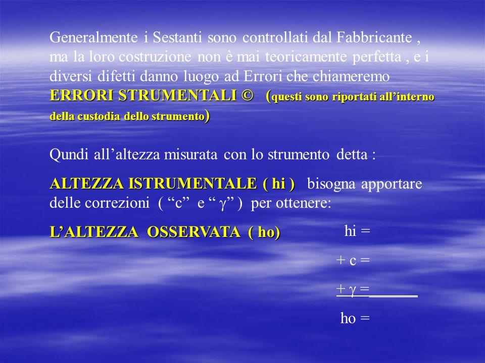CORREZIONE DINDICE ( ) La CORREZIONE DINDICE ( ) rappresenta lo scarto angolare fra lo zero della graduazione e il punto di parallelismo del sestante.