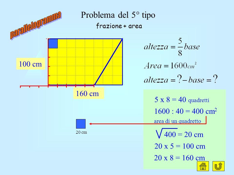 Problema del 4° tipo h = 5 parti b = 8 parti diff = 3 parti 30 : 3 = 10 cm 10 x 5 = 50 cm 10 x 8 = 80 cm frazione + differenza 50 cm 80 cm