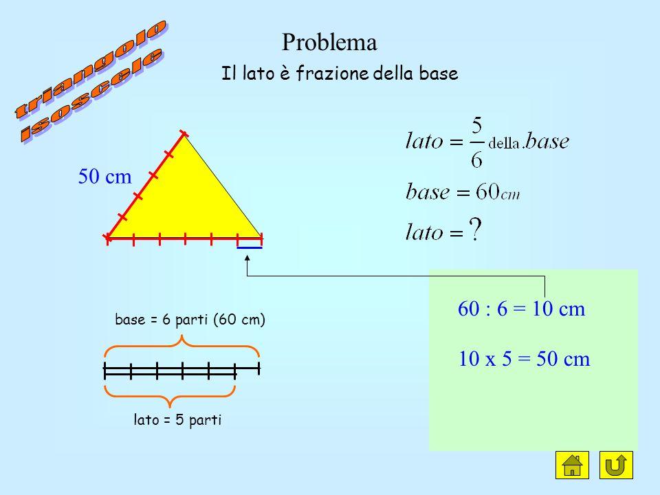 Problema base 5 parti (50 cm) altezza 6 parti 50 : 5 = 10 cm 10 x 6 = 60 cm laltezza è frazione della base 50 cm 60 cm