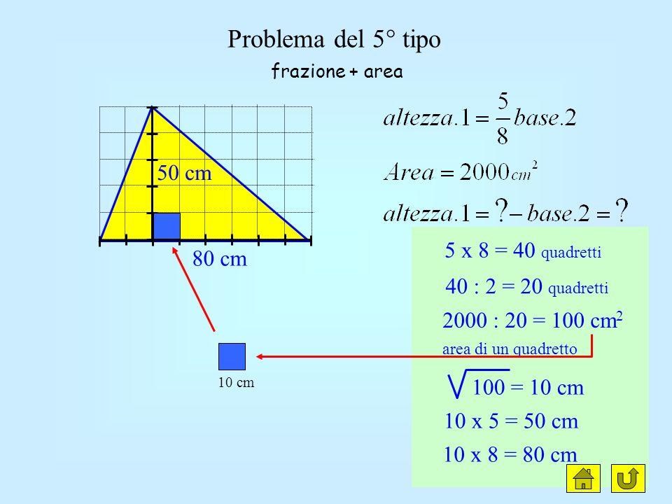 Problema lato = 5 parti 160 : 16 = 10 cm 10 x 5 = 50 cm il lato è frazione della base - noto il perimetro lato = 5 parti base = 6 parti 5 + 5 + 6 = 16