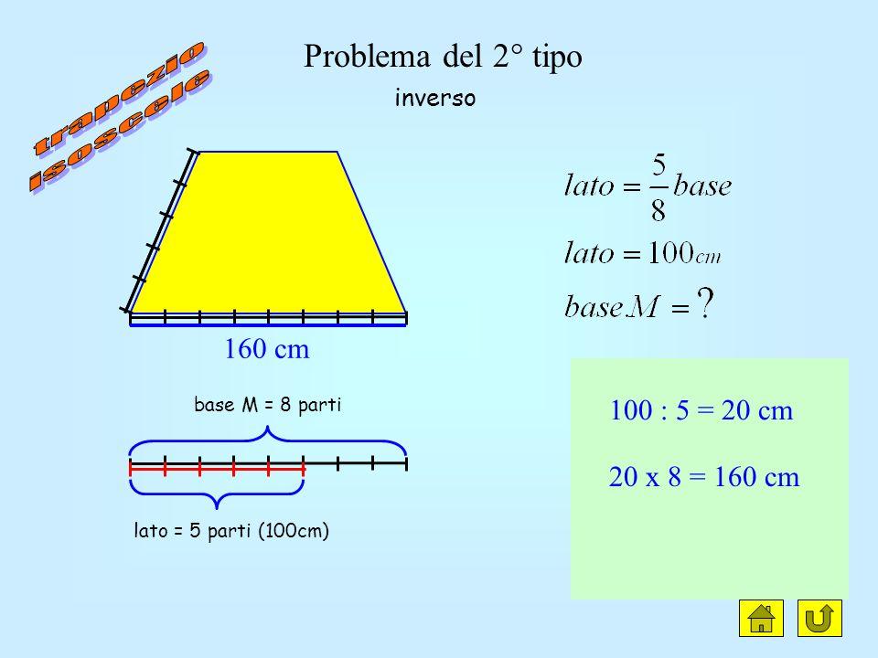 h = 5 parti base M = 8 parti (80cm) 80 : 8 = 10 cm 10 x 5 = 50 cm 80 cm 50 cm diretto Problema del 1° tipo