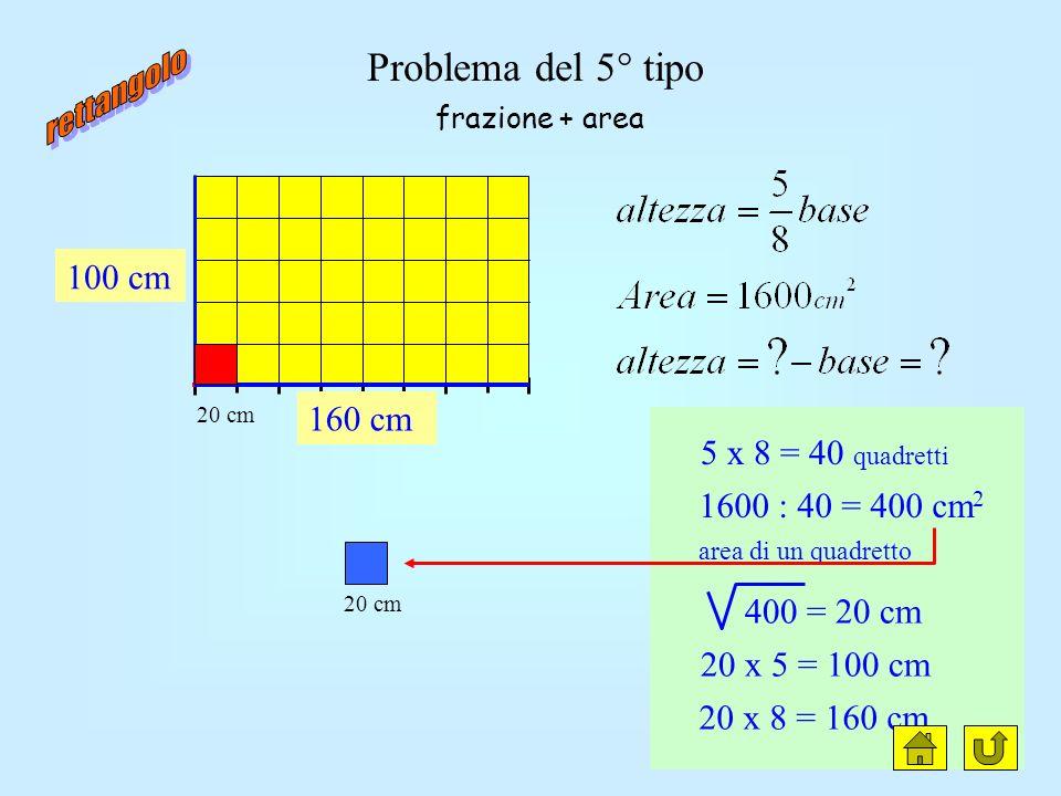 Problema del 4° tipo h = 5 parti b = 8 parti diff. = 3 parti (30cm) 30 : 3 = 10 cm 10 x 5 = 50 cm 10 x 8 = 80 cm 80 cm 50 cm frazione + differenza