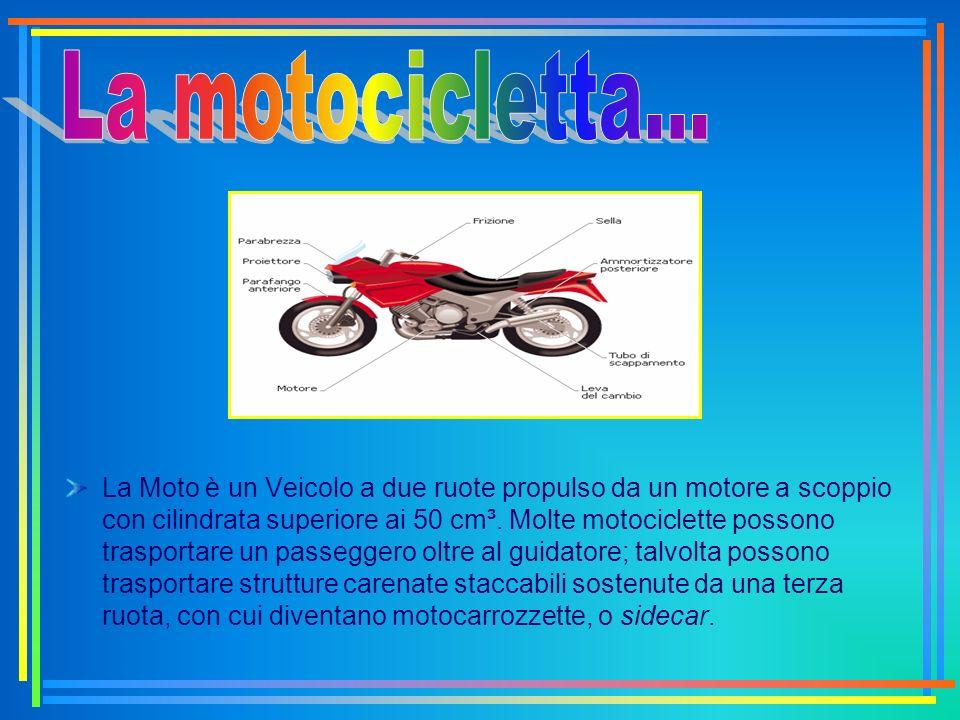 La Moto è un Veicolo a due ruote propulso da un motore a scoppio con cilindrata superiore ai 50 cm³. Molte motociclette possono trasportare un passegg