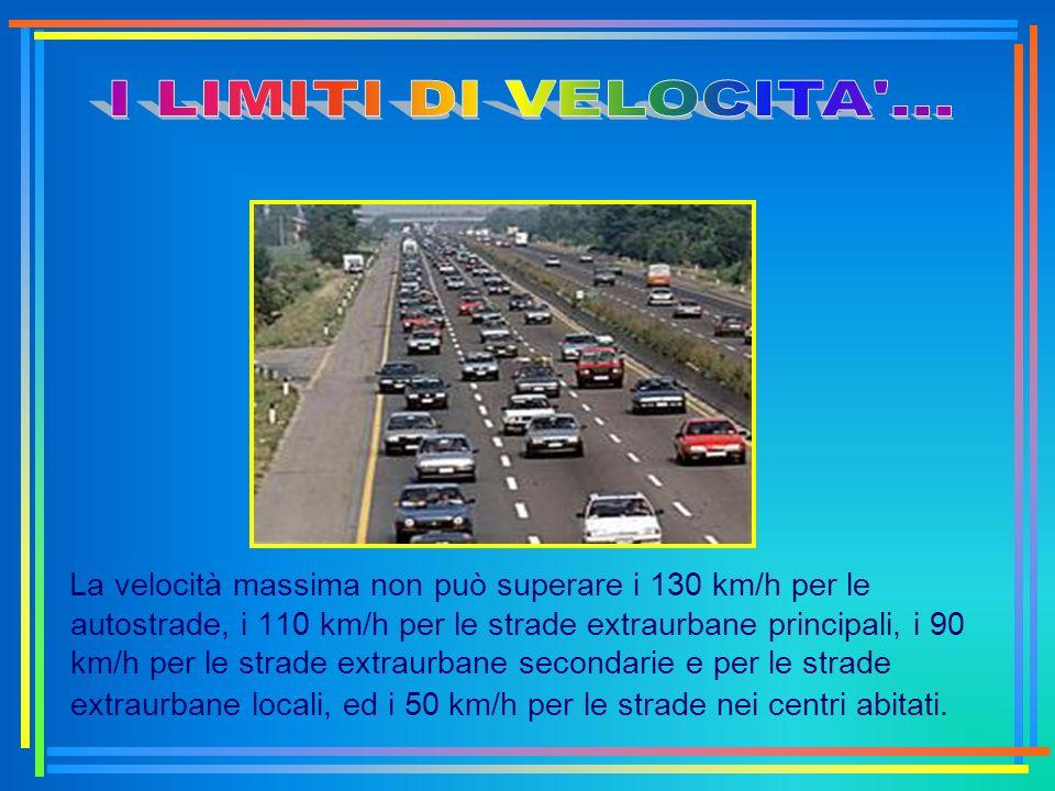 La velocità massima non può superare i 130 km/h per le autostrade, i 110 km/h per le strade extraurbane principali, i 90 km/h per le strade extraurban
