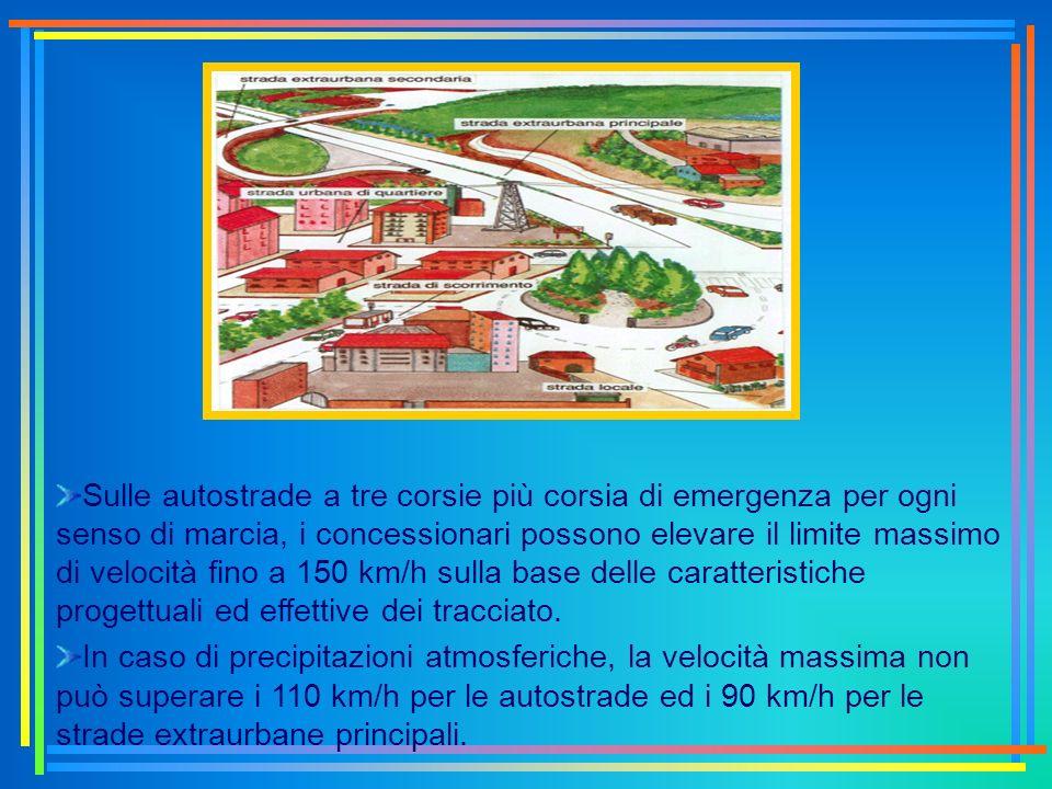Sulle autostrade a tre corsie più corsia di emergenza per ogni senso di marcia, i concessionari possono elevare il limite massimo di velocità fino a 1