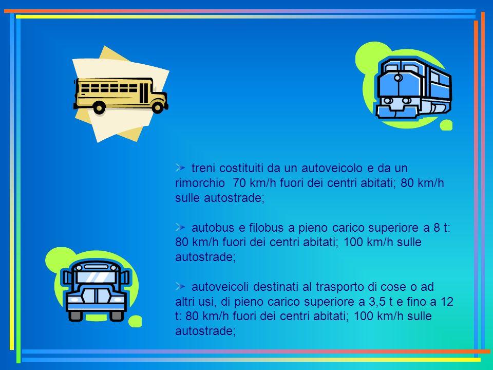 treni costituiti da un autoveicolo e da un rimorchio 70 km/h fuori dei centri abitati; 80 km/h sulle autostrade; autobus e filobus a pieno carico supe