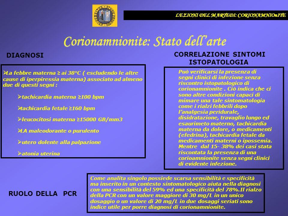 LEZIONI DEL MARTEDI: CORIONAMNIOnITE Corionamnionite: Stato dellarte DIAGNOSI : CORRELAZIONE SINTOMI ISTOPATOLOGIA : RUOLO DELLA PCR : La febbre mater