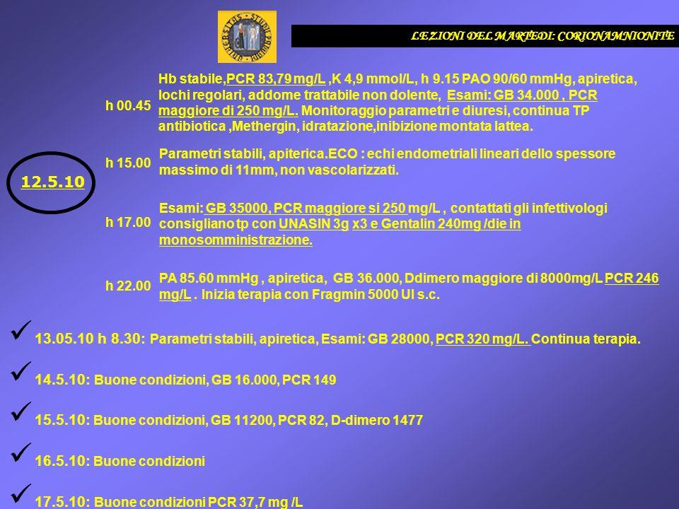 13.05.10 h 8.30: Parametri stabili, apiretica, Esami: GB 28000, PCR 320 mg/L. Continua terapia. 14.5.10: Buone condizioni, GB 16.000, PCR 149 15.5.10:
