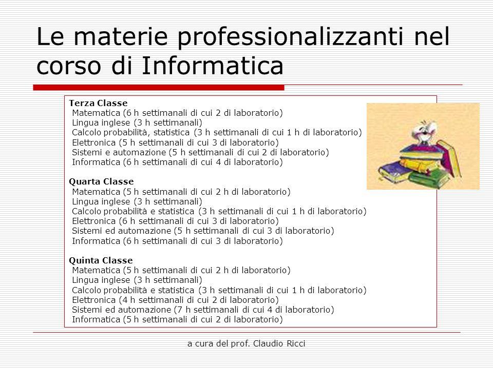 a cura del prof. Claudio Ricci Le materie professionalizzanti nel corso di Informatica Terza Classe Matematica (6 h settimanali di cui 2 di laboratori