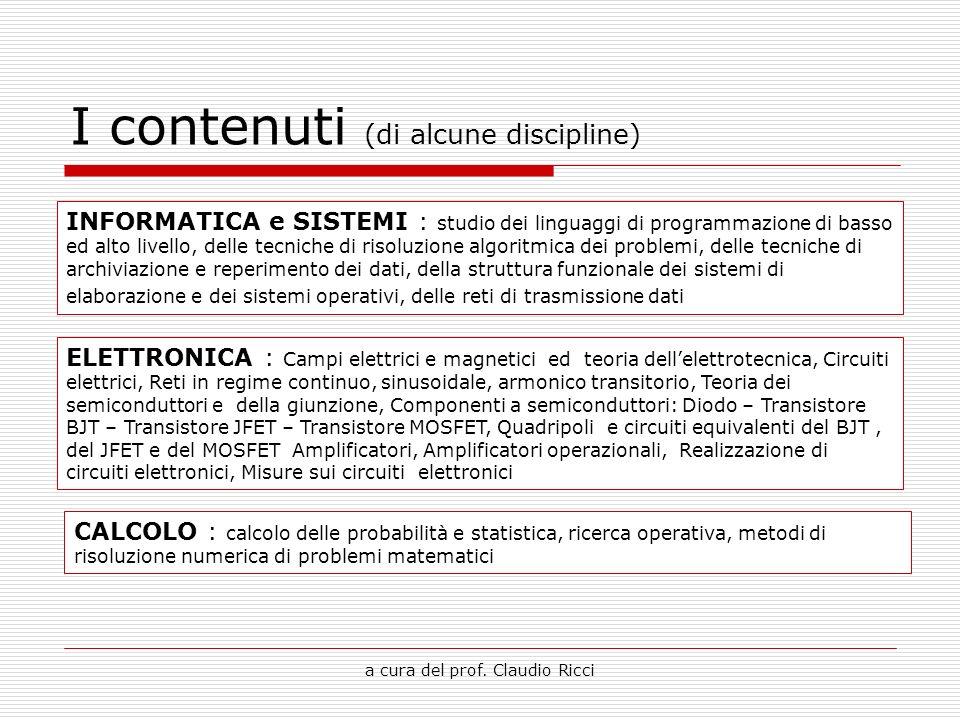 a cura del prof. Claudio Ricci I contenuti (di alcune discipline) INFORMATICA e SISTEMI : studio dei linguaggi di programmazione di basso ed alto live