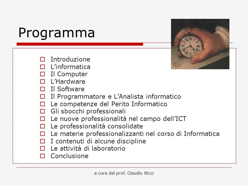 a cura del prof. Claudio Ricci Programma Introduzione Linformatica Il Computer LHardware Il Software Il Programmatore e LAnalista informatico Le compe