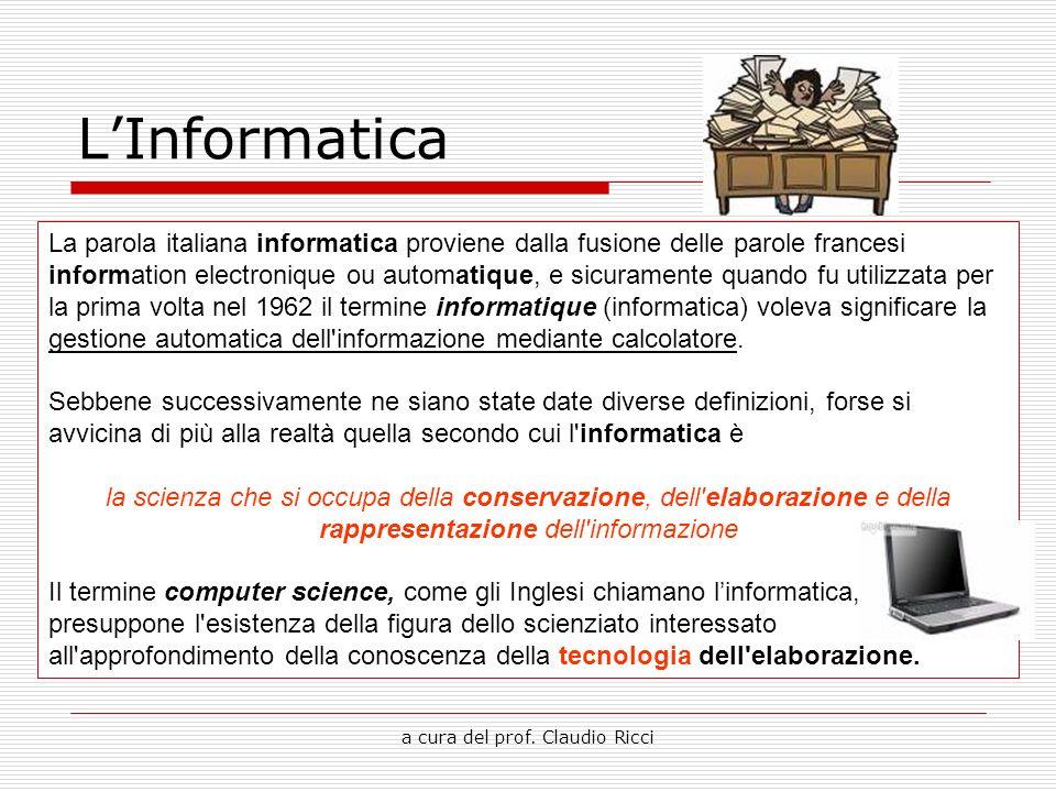 a cura del prof. Claudio Ricci LInformatica La parola italiana informatica proviene dalla fusione delle parole francesi information electronique ou au