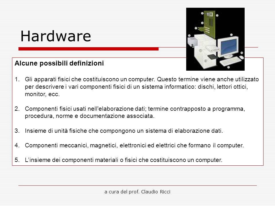 a cura del prof. Claudio Ricci Hardware Alcune possibili definizioni 1.Gli apparati fisici che costituiscono un computer. Questo termine viene anche u