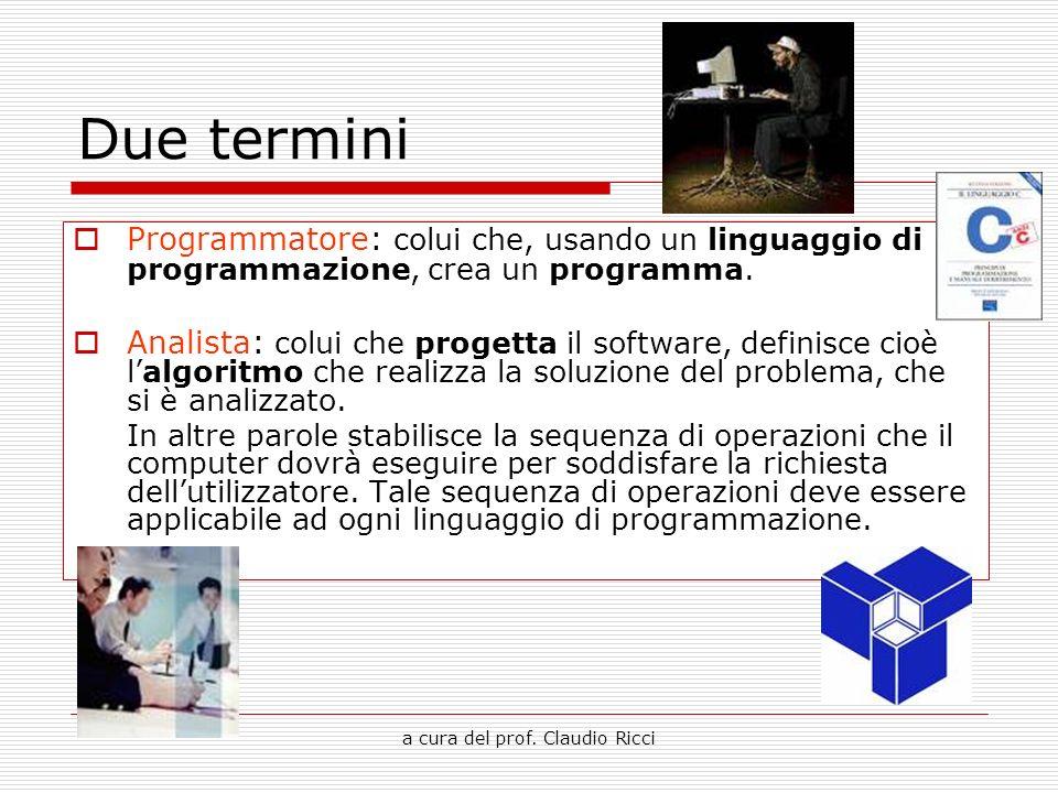 a cura del prof. Claudio Ricci Due termini Programmatore: colui che, usando un linguaggio di programmazione, crea un programma. Analista: colui che pr