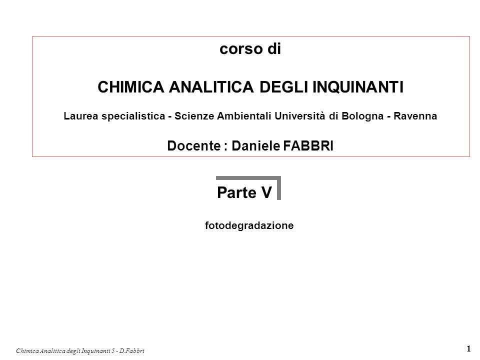 Chimica Analitica degli Inquinanti 5 - D.Fabbri 1 corso di CHIMICA ANALITICA DEGLI INQUINANTI Laurea specialistica - Scienze Ambientali Università di
