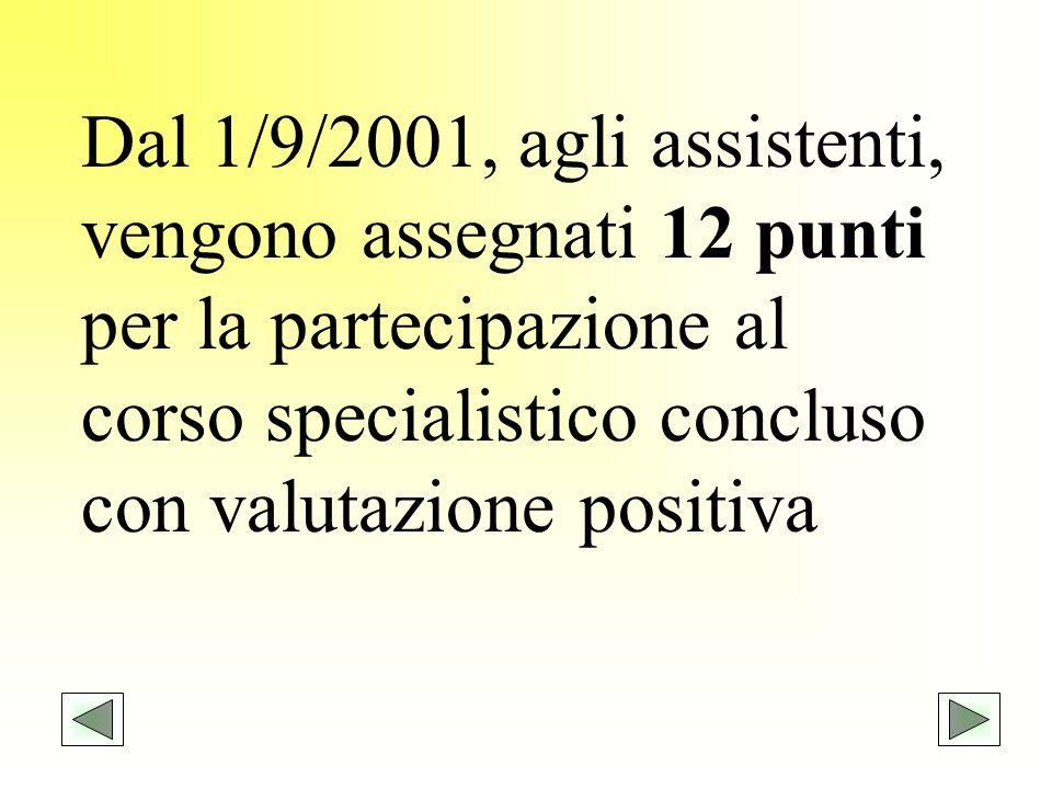 Dal 1/9/2001, agli assistenti, vengono assegnati 12 punti per la partecipazione al corso specialistico concluso con valutazione positiva