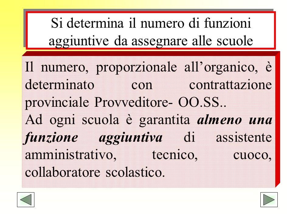 Si determina il numero di funzioni aggiuntive da assegnare alle scuole Il numero, proporzionale allorganico, è determinato con contrattazione provinci