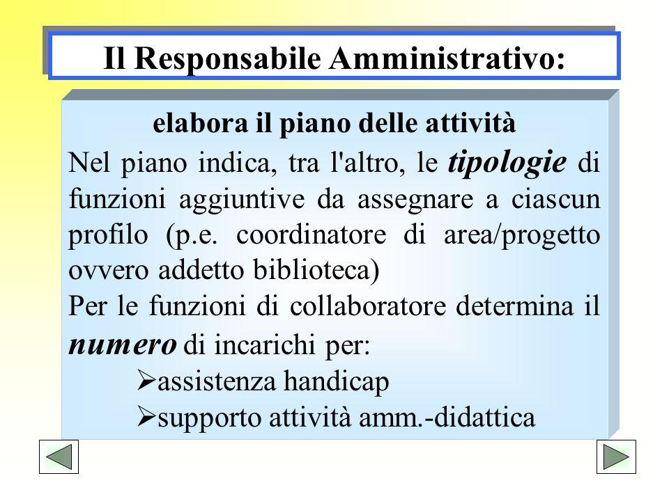 Il Responsabile Amministrativo: elabora il piano delle attività Nel piano indica, tra l'altro, le tipologie di funzioni aggiuntive da assegnare a cias