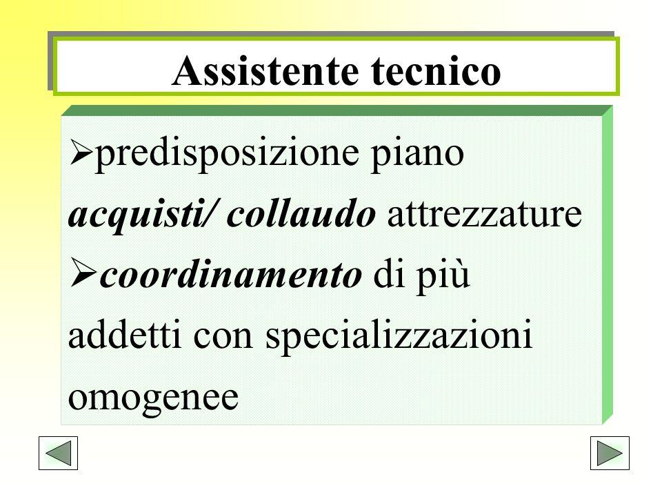 Assistente tecnico predisposizione piano acquisti/ collaudo attrezzature coordinamento di più addetti con specializzazioni omogenee