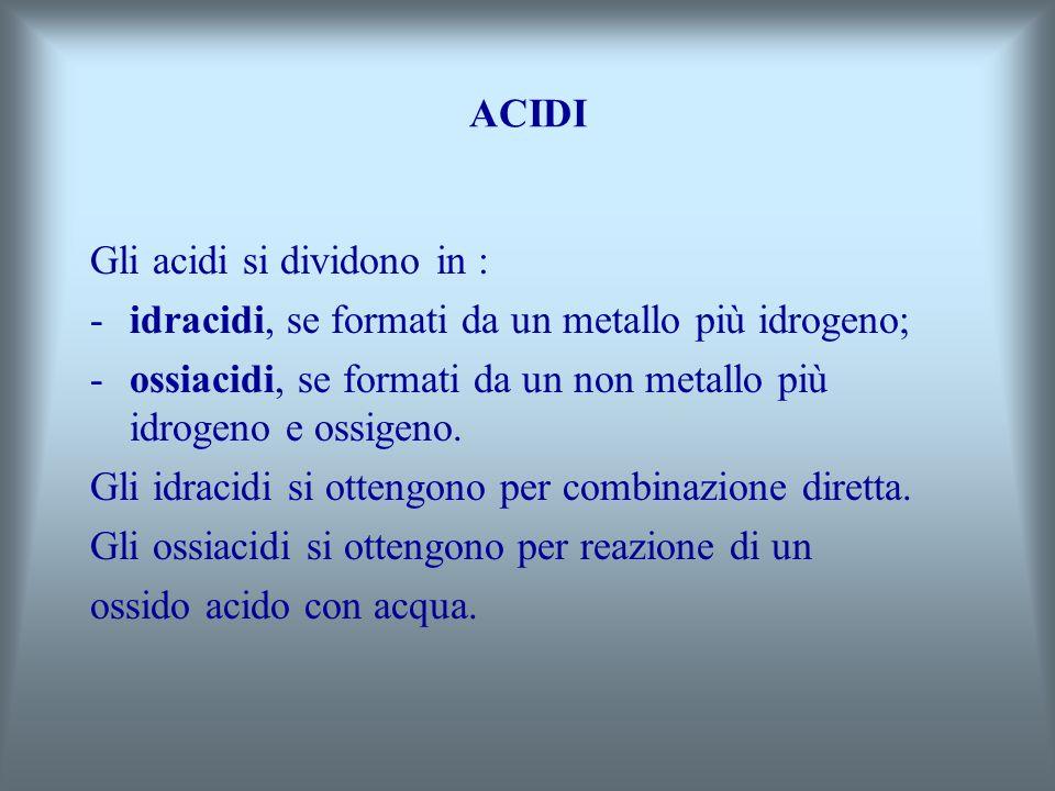 ACIDI Gli acidi si dividono in : -i-idracidi, se formati da un metallo più idrogeno; -o-ossiacidi, se formati da un non metallo più idrogeno e ossigeno.