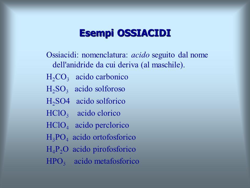 Esempi IDRACIDI Idracidi: nomenclatura: acido........-idrico HF acido fluoridrico HCl acido cloridrico HBr acido bromidrico HI acido iodidrico HCN aci