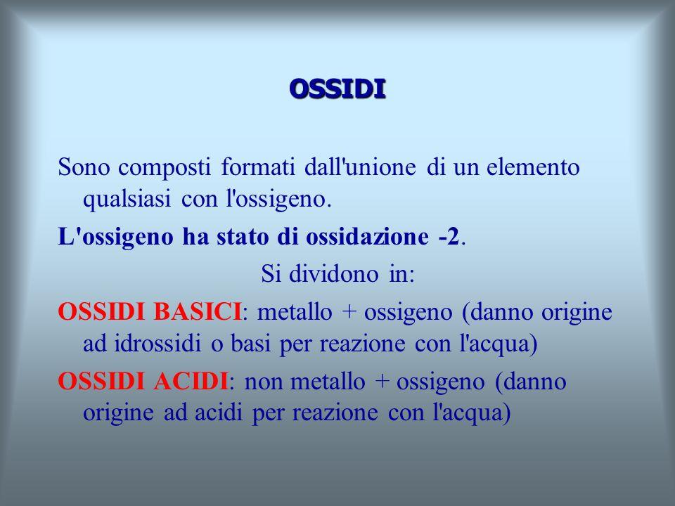 OSSIDI Sono composti formati dall unione di un elemento qualsiasi con l ossigeno.