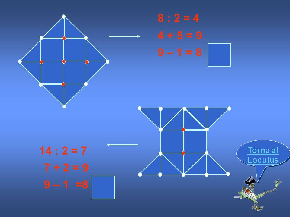 8 : 2 = 4 4 + 5 = 9 9 – 1 = 8 14 : 2 = 7 7 + 2 = 9 9 – 1 =8 Torna al Loculus Torna al Loculus