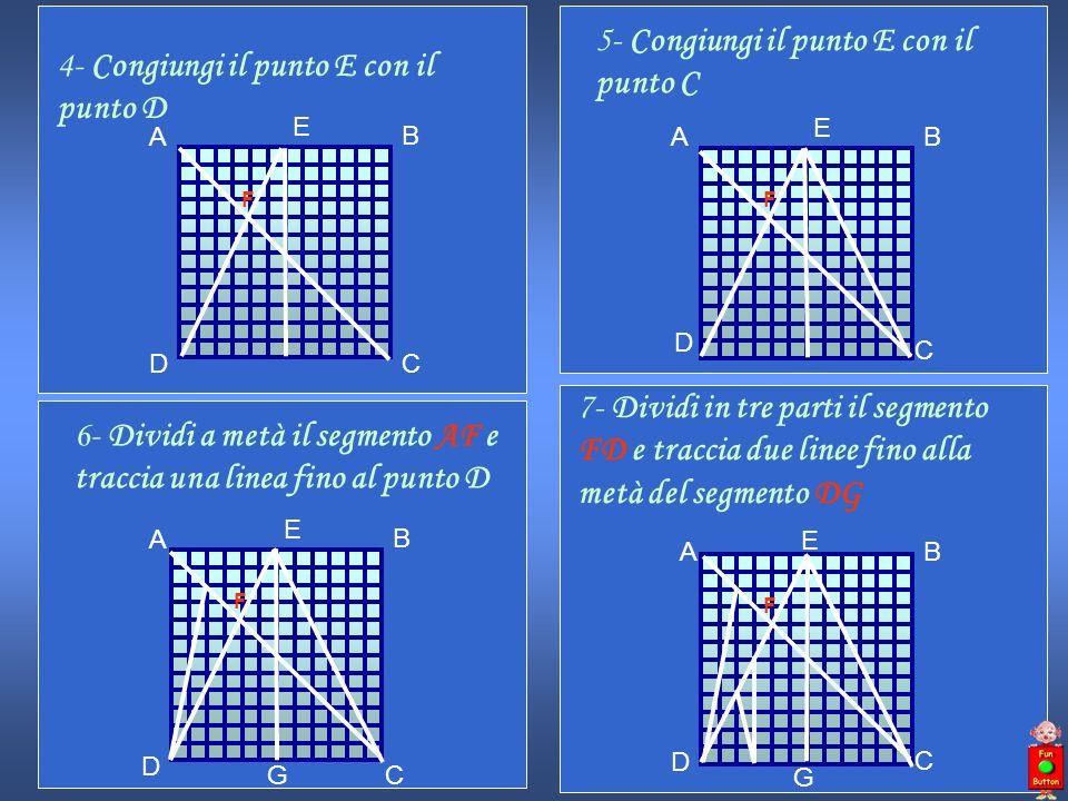 5- Congiungi il punto E con il punto C A B D C E F 6- Dividi a metà il segmento AF e traccia una linea fino al punto D A B D C E F G 7- Dividi in tre