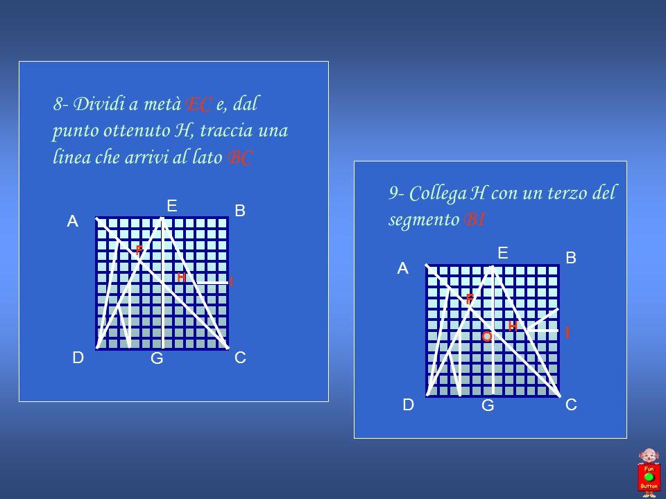 8- Dividi a metà EC e, dal punto ottenuto H, traccia una linea che arrivi al lato BC A B DC E F G H I 9- Collega H con un terzo del segmento BI A B DC