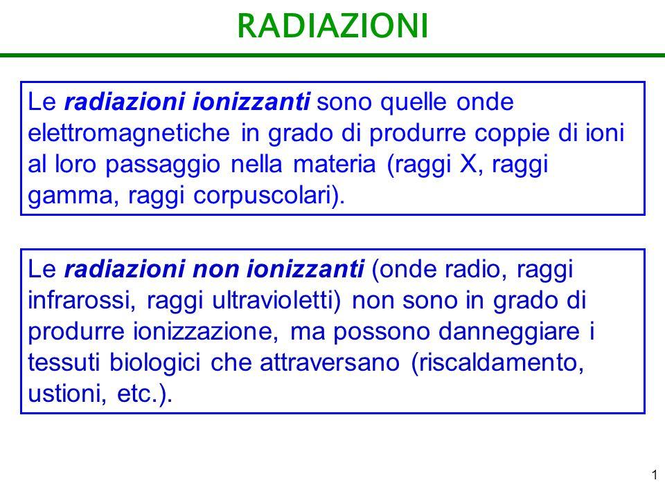 1 RADIAZIONI Le radiazioni ionizzanti sono quelle onde elettromagnetiche in grado di produrre coppie di ioni al loro passaggio nella materia (raggi X,