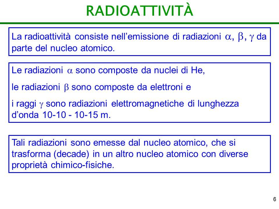 6 RADIOATTIVITÀ La radioattività consiste nellemissione di radiazioni,, da parte del nucleo atomico. Le radiazioni sono composte da nuclei di He, le r