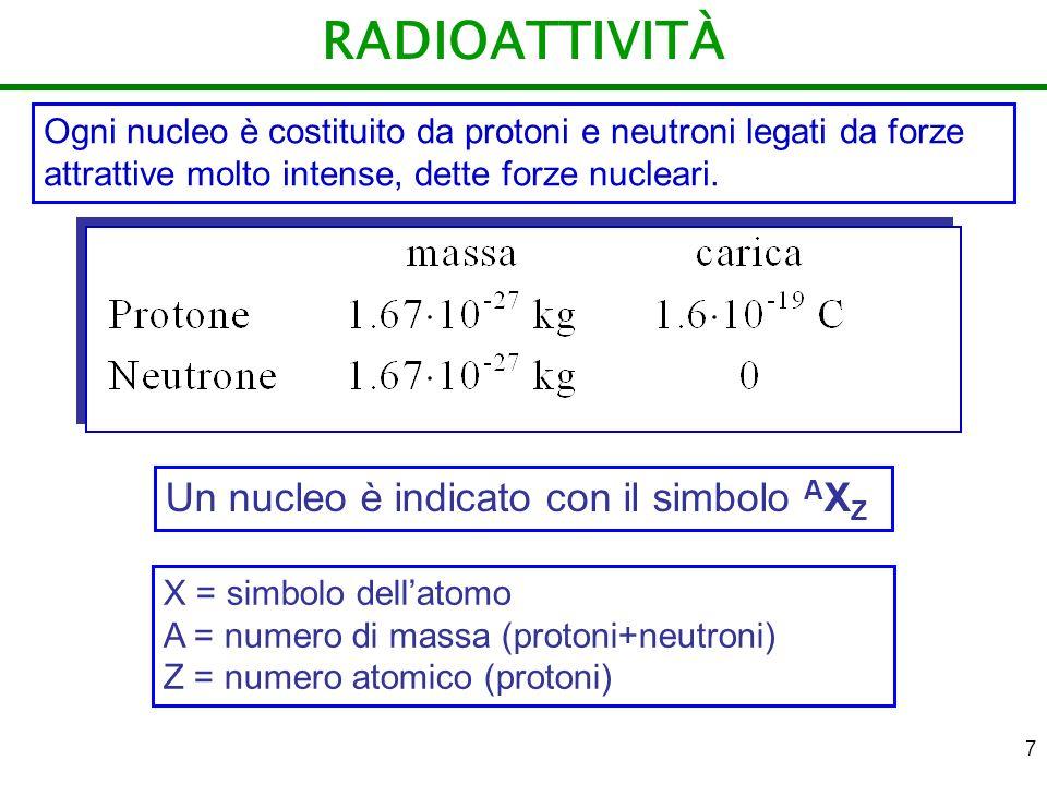 7 RADIOATTIVITÀ Ogni nucleo è costituito da protoni e neutroni legati da forze attrattive molto intense, dette forze nucleari. Un nucleo è indicato co