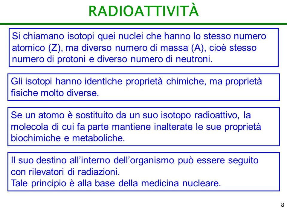 8 RADIOATTIVITÀ Si chiamano isotopi quei nuclei che hanno lo stesso numero atomico (Z), ma diverso numero di massa (A), cioè stesso numero di protoni