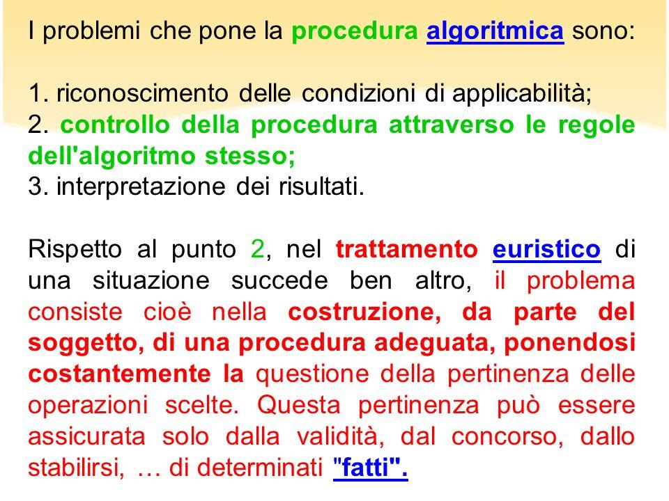 I problemi che pone la procedura algoritmica sono:algoritmica 1. riconoscimento delle condizioni di applicabilità; 2. controllo della procedura attrav