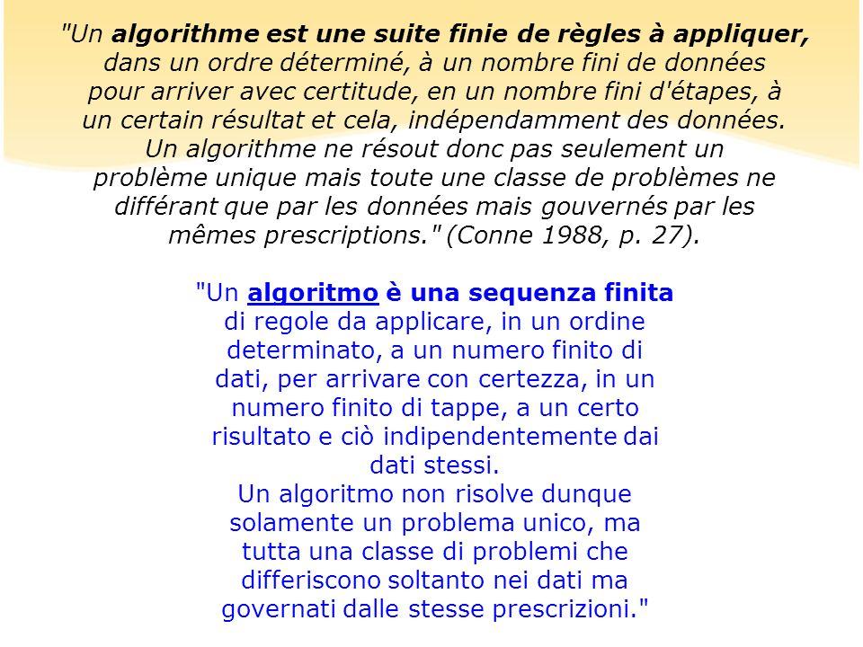 Un algorithme est une suite finie de règles à appliquer, dans un ordre déterminé, à un nombre fini de données pour arriver avec certitude, en un nombre fini d étapes, à un certain résultat et cela, indépendamment des données.