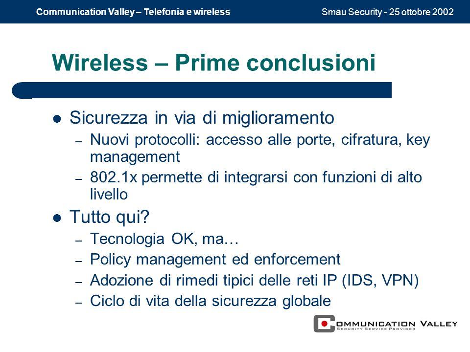 Smau Security - 25 ottobre 2002Communication Valley – Telefonia e wireless Wireless – Prime conclusioni Sicurezza in via di miglioramento – Nuovi protocolli: accesso alle porte, cifratura, key management – 802.1x permette di integrarsi con funzioni di alto livello Tutto qui.