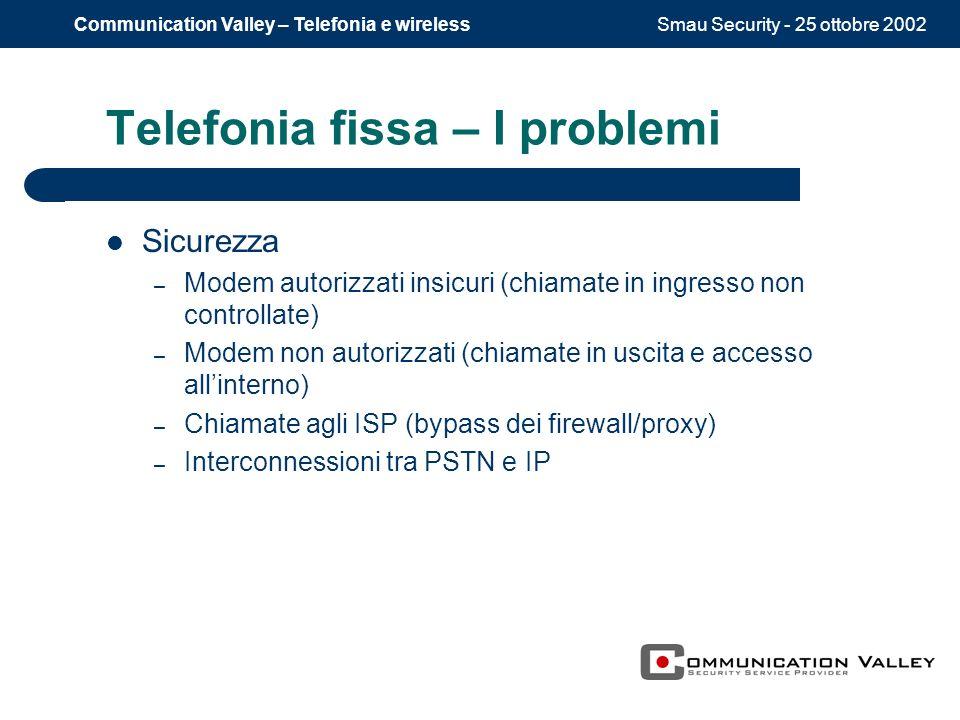Smau Security - 25 ottobre 2002Communication Valley – Telefonia e wireless Telefonia fissa – I problemi Sicurezza – Modem autorizzati insicuri (chiama