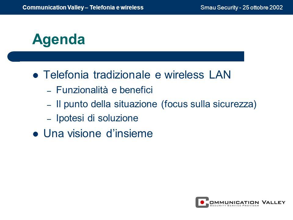 Smau Security - 25 ottobre 2002Communication Valley – Telefonia e wireless Agenda Telefonia tradizionale e wireless LAN – Funzionalità e benefici – Il punto della situazione (focus sulla sicurezza) – Ipotesi di soluzione Una visione dinsieme