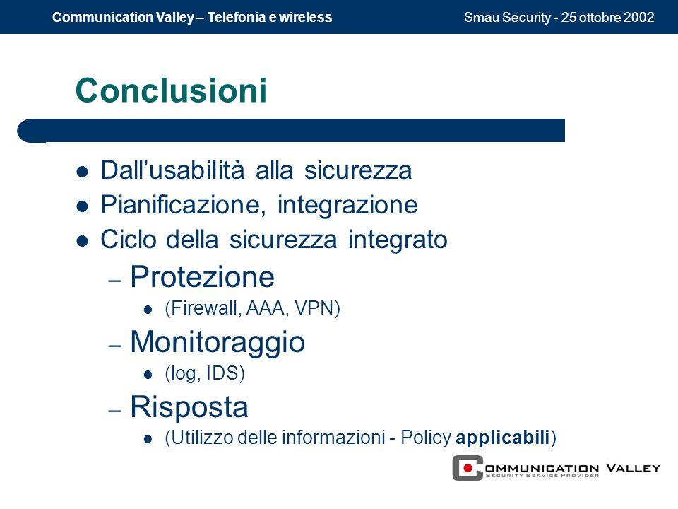 Smau Security - 25 ottobre 2002Communication Valley – Telefonia e wireless Conclusioni Dallusabilità alla sicurezza Pianificazione, integrazione Ciclo