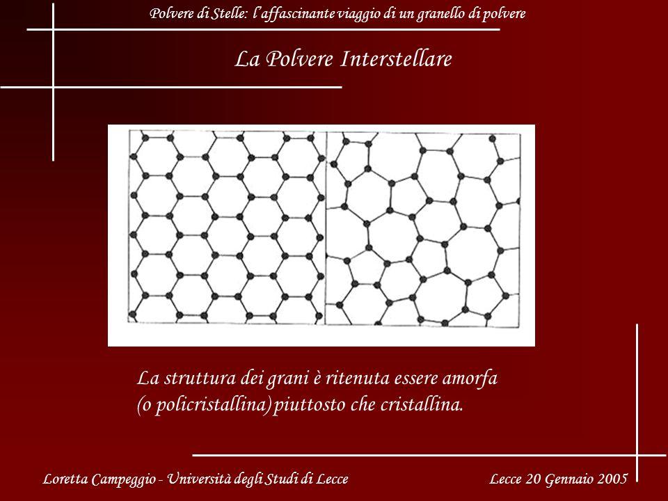 La Polvere Interstellare La struttura dei grani è ritenuta essere amorfa (o policristallina) piuttosto che cristallina.