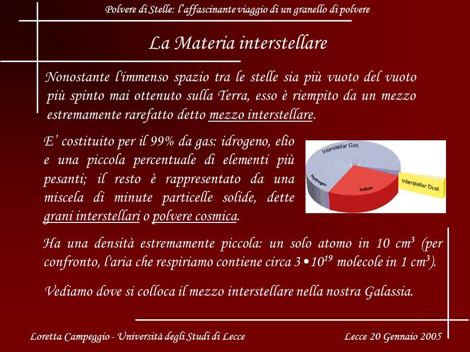 Loretta Campeggio - Università degli Studi di Lecce Lecce 20 Gennaio 2005 Nonostante l immenso spazio tra le stelle sia più vuoto del vuoto più spinto mai ottenuto sulla Terra, esso è riempito da un mezzo estremamente rarefatto detto mezzo interstellare.
