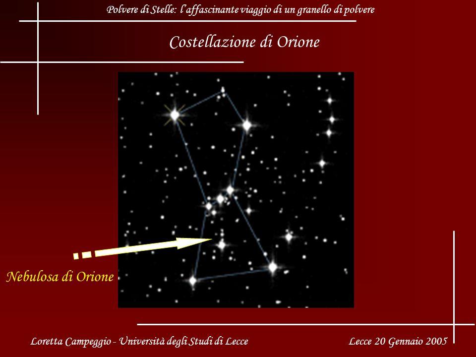 Costellazione di Orione Nebulosa di Orione Loretta Campeggio - Università degli Studi di Lecce Lecce 20 Gennaio 2005 Polvere di Stelle: laffascinante viaggio di un granello di polvere