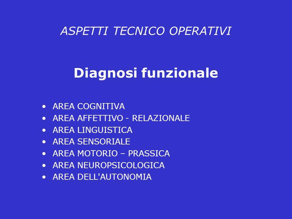 ASPETTI TECNICO OPERATIVI Diagnosi funzionale AREA COGNITIVA AREA AFFETTIVO - RELAZIONALE AREA LINGUISTICA AREA SENSORIALE AREA MOTORIO – PRASSICA AREA NEUROPSICOLOGICA AREA DELL AUTONOMIA