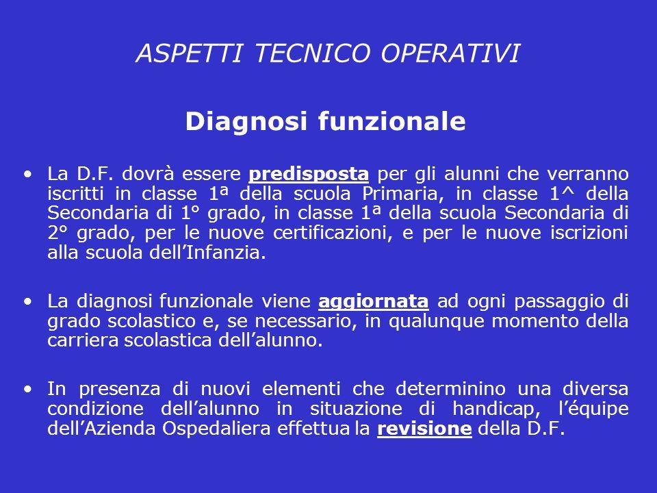 ASPETTI TECNICO OPERATIVI Diagnosi funzionale La D.F.