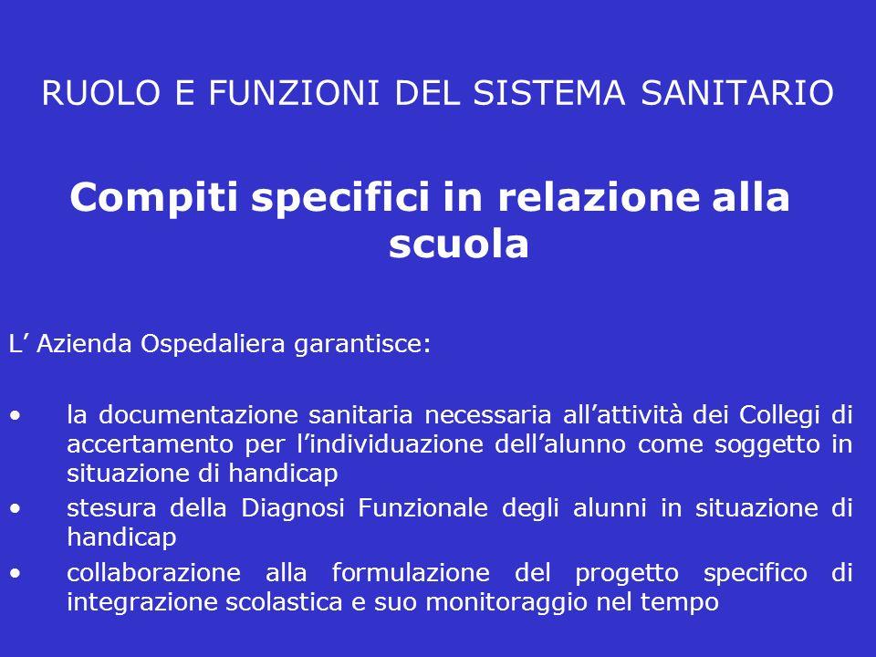 RUOLO E FUNZIONI DEL SISTEMA SANITARIO Compiti specifici in relazione alla scuola L Azienda Ospedaliera garantisce: la documentazione sanitaria necess