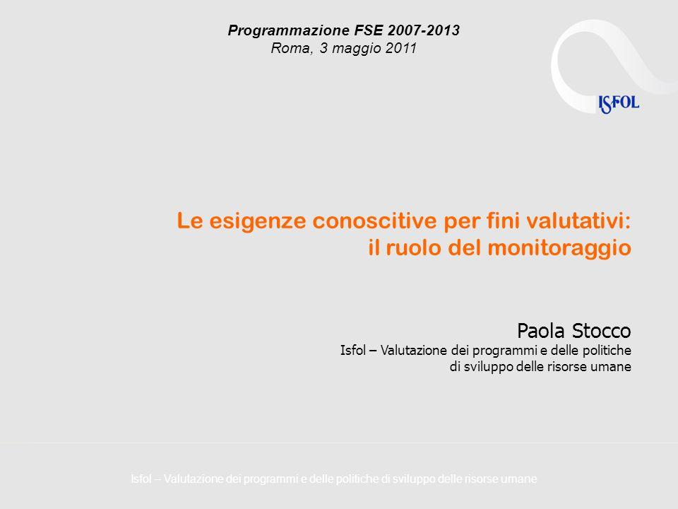 Isfol – Valutazione dei programmi e delle politiche di sviluppo delle risorse umane Programmazione FSE 2007-2013 Roma, 3 maggio 2011 Le esigenze conos