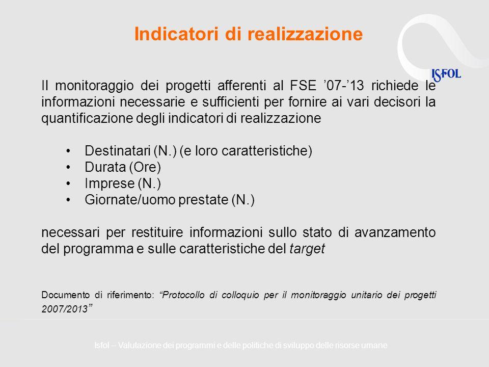 Indicatori di realizzazione Il monitoraggio dei progetti afferenti al FSE 07-13 richiede le informazioni necessarie e sufficienti per fornire ai vari